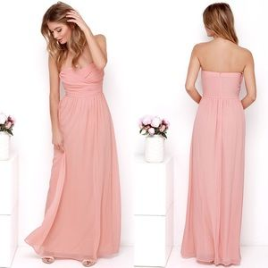 Lulu's Pink Royal Engagement Strapless Maxi Dress